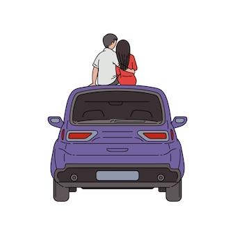 Kino na świeżym powietrzu i romantyczne randki z ludźmi oglądającymi filmy na świeżym powietrzu z zaparkowanego samochodu, szkic ilustracji na białym tle.