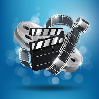 Kino niebieskie tło z 3d realistyczną taśmą i clapperboard.