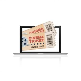 Kino online, internet strumieniowe płaskie ilustracja. płaskie koncepcje banerów internetowych, stron internetowych, materiałów drukowanych. ilustracji wektorowych.
