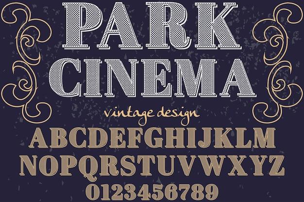 Kino parkowe w stylu vintage czcionki graficznej