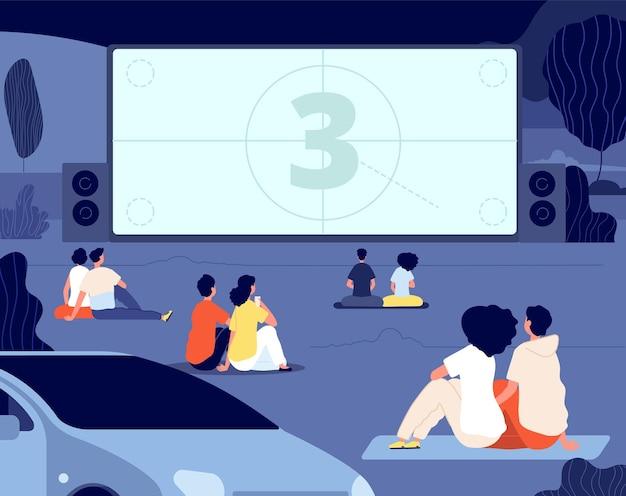 Kino plenerowe. relaks na świeżym powietrzu, noc filmów samochodowych. przyjaciele wypoczywają na podwórku z przekąskami, parawanem. pochodzące pary oglądać ilustrację filmu. film kinowy, rozrywka na świeżym powietrzu