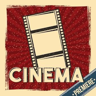Kino premiera festiwalu plakat retro z taśmy filmowej