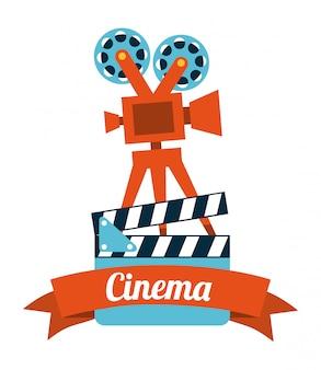 Kino projekt na białym tle ilustracji wektorowych