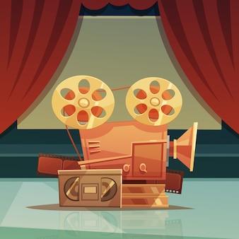 Kino retro kreskówka tło