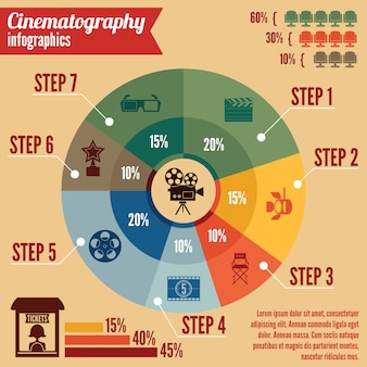 Kino rozrywki biznesu infographic szablon
