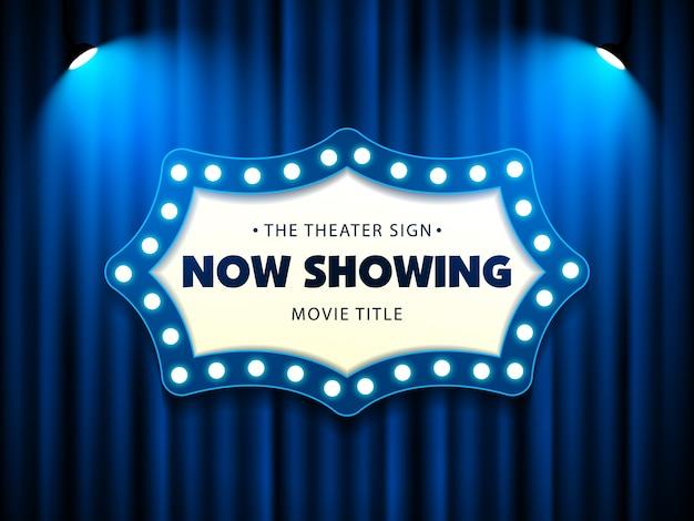Kino teatr retro znak na kurtynie z reflektorem