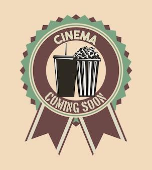 Kino wkrótce odznaka wstążki retro vintage