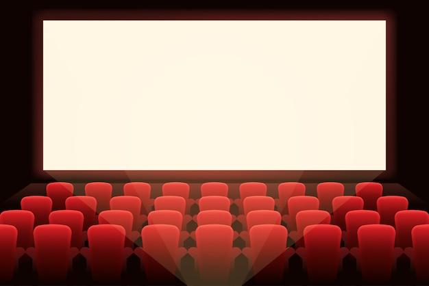 Kino z białym ekranem. prezentacja teatralna i widowiskowa, przedstawienie i sala, rozrywka i audytorium.