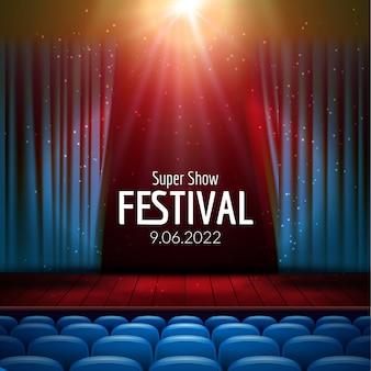 Kino z rzędem czerwonego siedzenia tła szablon