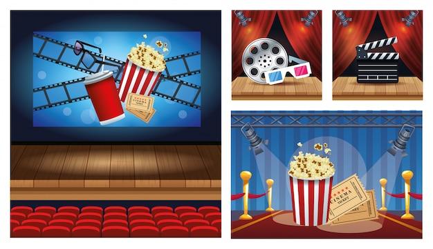 Kinowa rozrywka z ustalonymi scen ikon ikonami ilustracyjnymi