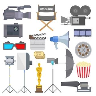 Kinowy film robi tv przedstawieniu wytłacza wzory wyposażenie symboli / lów ikony ustawia ilustrację.