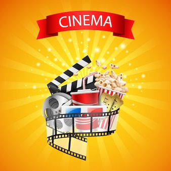 Kinowy projekt nad tła kolor żółty