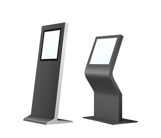 Kiosk samoobsługowy z panelem dotykowym. pobieranie faktur ze stacji bankowej. terminal do zamówienia klienta i makieta szablonu bankomatu na białym tle. 3d ilustracji wektorowych