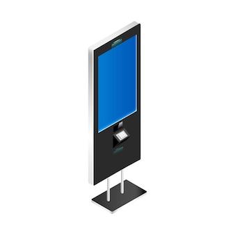 Kiosk z pustym ekranem realistyczną ilustracją na białym tle