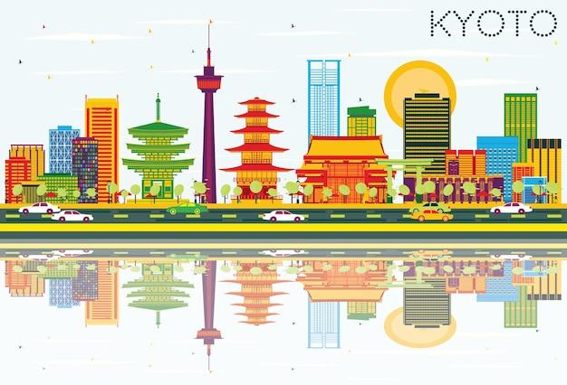 Kioto skyline z kolorowymi budynkami, błękitne niebo i odbicia. ilustracja wektorowa. podróże służbowe i koncepcja turystyki z zabytkową architekturą. obraz banera prezentacji i witryny sieci web.