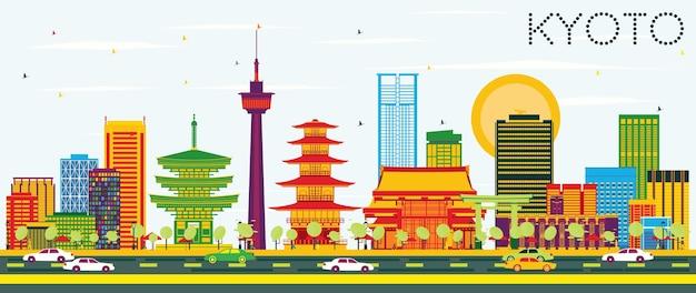 Kioto skyline z kolorowymi budynkami i błękitnym niebem. ilustracja wektorowa. podróże służbowe i koncepcja turystyki z zabytkową architekturą. obraz banera prezentacji i witryny sieci web.