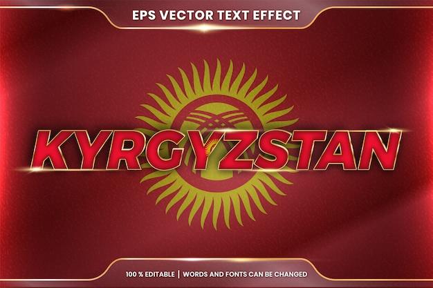 Kirgistan z flagą narodową kraju, styl edytowalnego efektu tekstowego z koncepcją koloru złota gradientu