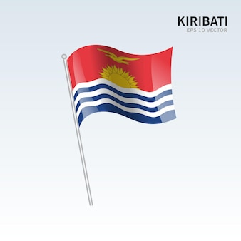 Kiribati macha flagą odizolowaną na szaro