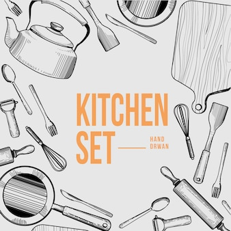 Kitchen set tools outline handdrawn