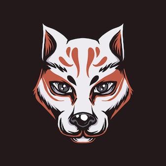 Kitsune fox ilustracja w stylu japońskim