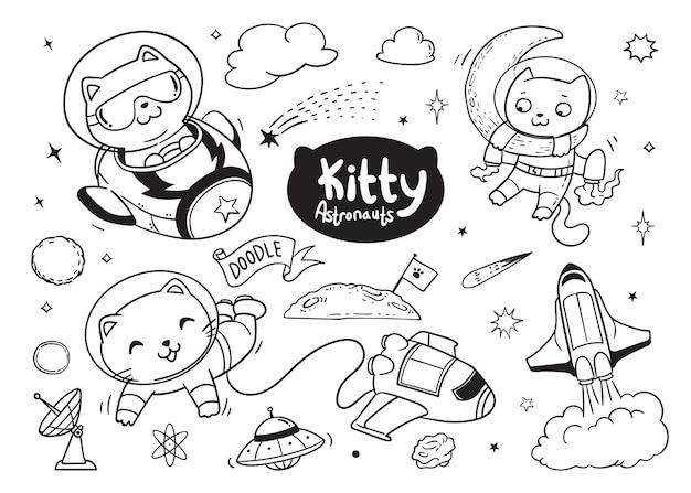 Kitty Astronautów Doodle Dla Dzieci Premium Wektorów