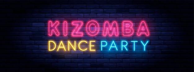 Kizomba dance party kolorowe neonowe światło