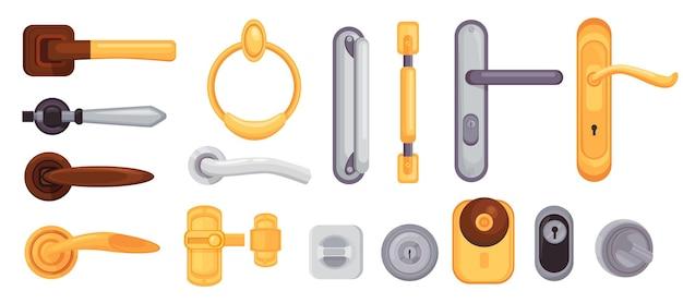 Klamka i gałka. kreskówka nowoczesne metalowe i złote zamki, zatrzaski, klamki i klamki. dom drzwi wewnętrzne elementu ikony wektor zestaw. pokrętło od drzwi do wejścia, designerski uchwyt i dziurka od klucza
