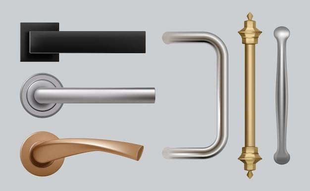 Klamki do drzwi. nowoczesne, szczegółowe wysokiej jakości zdjęcia stalowe uchwyty metalowe do mebli.