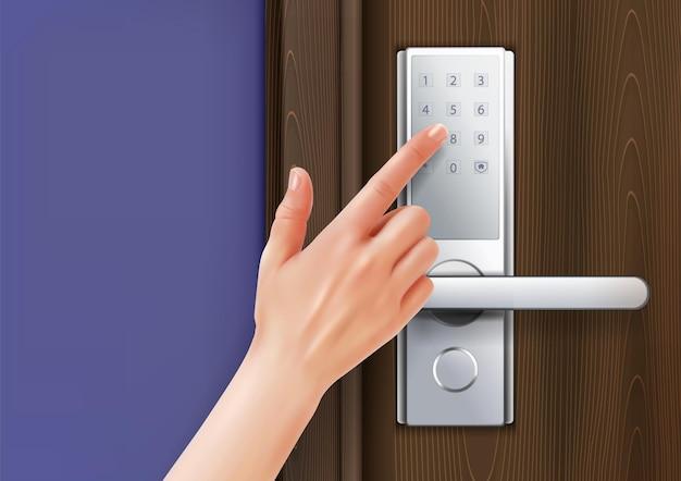 Klamki do drzwi obsługują realistyczną kompozycję ludzką ręką z palcem dotykającym cyfrową klawiaturę numeryczną klamki