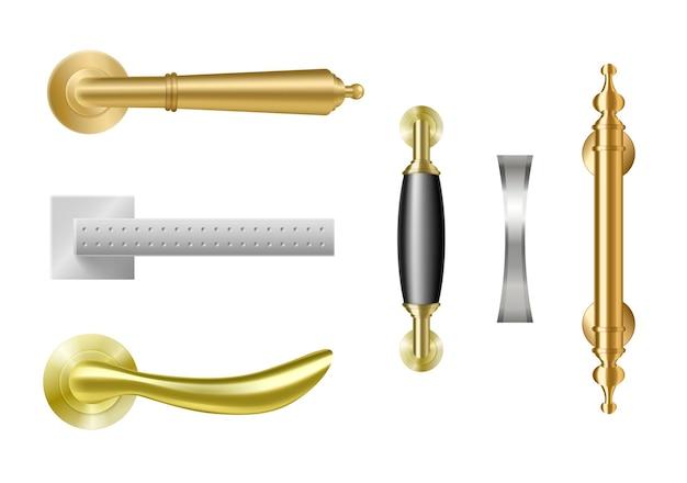 Klamki w kolorze złotym i srebrnym