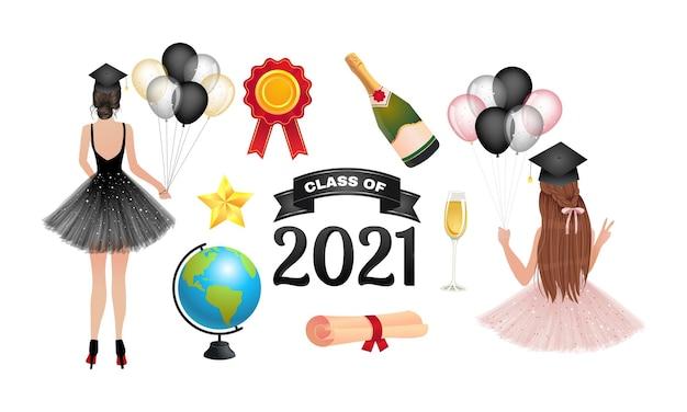 Klasa kolekcji clipartów ukończenia szkoły 2021. ładna dziewczyna świętuje ukończenie szkoły