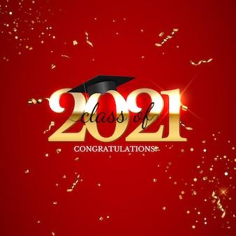 Klasa maturalna 2021 z czapką i konfetti