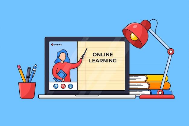 Klasa online nowoczesnej edukacji cyfrowej edukacji na ilustracji ekranu laptopa