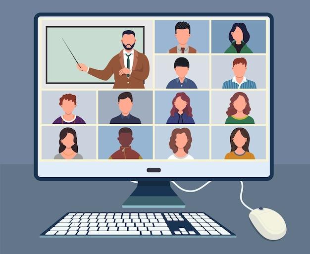 Klasa online. uczniowie lub studenci uczący się z komputerem w domu. zostań w szkole, ucz się w domu za pośrednictwem telekonferencji. wideokonferencja na laptopie podczas kwarantanny koronawirusa. kształcenie na odległość