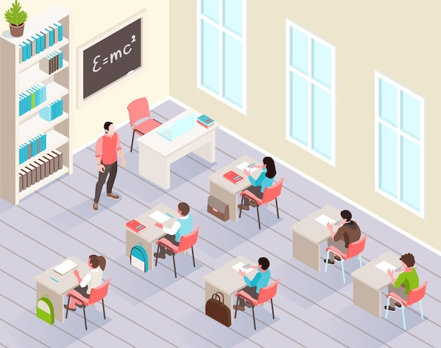 Klasa szkolna izometryczna z uczniami siedzącymi przy biurkach i słuchającymi nauczyciela stojącego w pobliżu tablicy ilustracyjnej,