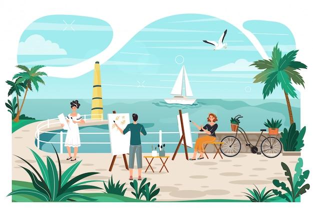 Klasa sztuki na wakacjach nad morzem, artyści z sztalugami rysują jacht w morzu, tropikalnym kurorcie i drzewku palmowym kreskówki ilustrację.