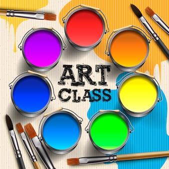 Klasa sztuki, projektowanie szablonów warsztatów. dzieciak sztuki rzemiosło, edukacja, twórczości klasowy pojęcie, ilustracja.