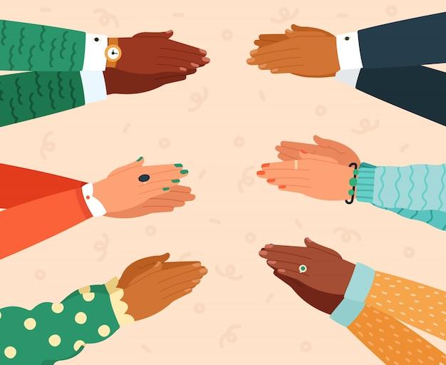 Klaskanie. brawa w dłoń, klaskanie gratulacje brawa, powodzenie wiwatowania, ilustracja klaskania w dłoń. wyraz i uznanie, gratuluję braw