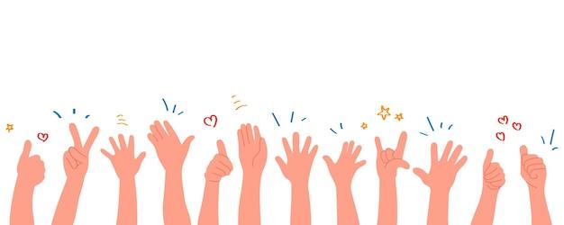 Klaskanie ludzkich rąk. brawo ręce. ilustracja w stylu płaskiej.
