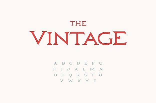 Klasyczna antyczna czcionka cienki elegancki alfabet szeryfowy na luksusowe logo nagłówek monogram vintage napis
