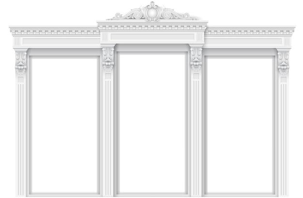 Klasyczna biała architektoniczna rama fasady drzwi