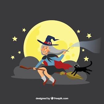 Klasyczna czarownica z płaskim wzorem