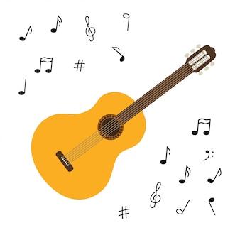 Klasyczna drewniana gitara. szarpany instrument muzyczny. mała gitara akustyczna lub ukulele. sprzęt rockowy lub jazzowy. naklejka z konturem.