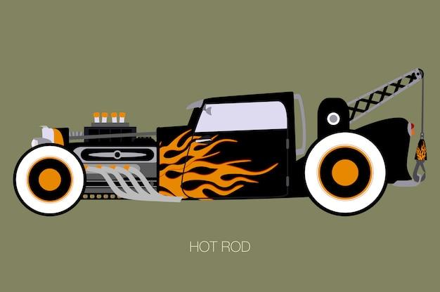 Klasyczna dźwigowa hot rod ilustracja