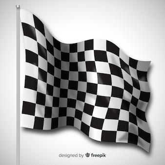 Klasyczna flaga w kratkę z realistycznym projektem