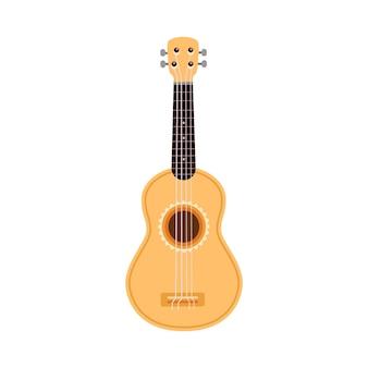 Klasyczna gitara akustyczna z drewnianym ciałem płaski wektor ilustracja na białym tle
