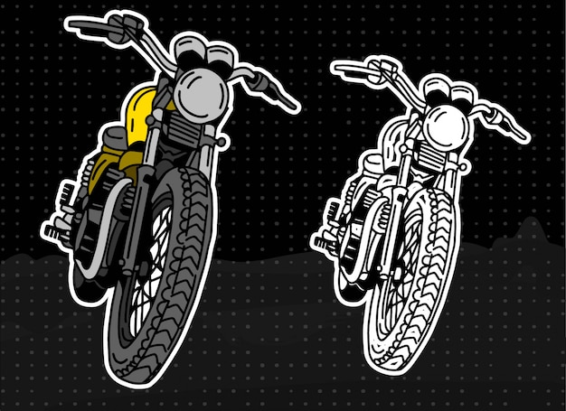 Klasyczna ilustracja motocykl