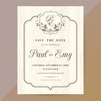 Klasyczna karta zaproszenie na ślub w stylu vintage z brązowym kolorze granicy i ramki