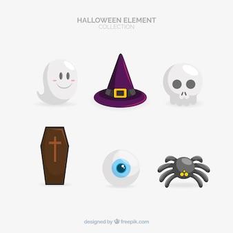 Klasyczna kolekcja elementów halloween z płaska konstrukcja