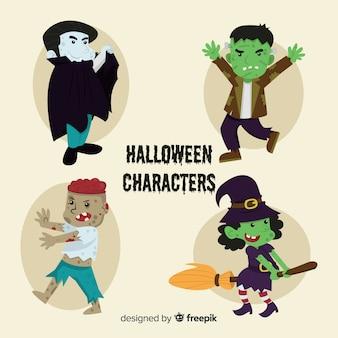 Klasyczna kolekcja postaci halloween z płaskiej konstrukcji